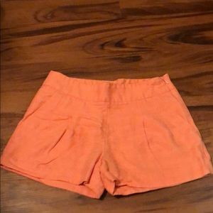 J Crew Orange Linen Pleated Shorts